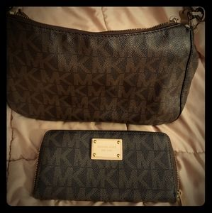Michael Kors brown leather bag and wallet